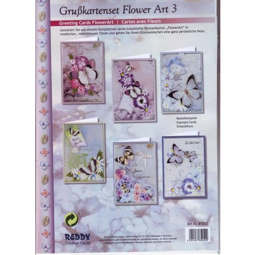BASTELSETS / CRAFT KITS Complete card set, flower greeting card set