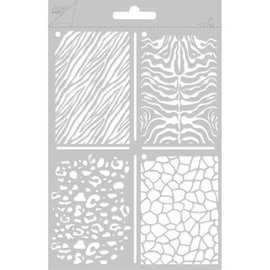 Joy!Crafts / Jeanine´s Art, Hobby Solutions Dies /  Poly Besa, A5 Multi Stencil with 4 different wall / stone motifs