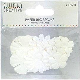 BLUMEN (MINI) UND ACCESOIRES 21 kreative Papierblüten in  Weiß