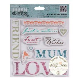 Docrafts / Papermania / Urban Rubber Stempel, Vintage Notes