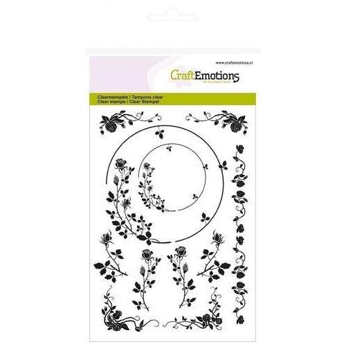 Crealies und CraftEmotions Clear / Transparente Stempel, A6, Ornamente rose