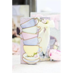 modelli di taglio e goffratura: tazze da té