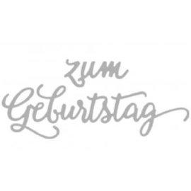 Spellbinders und Rayher Skæring og prægning stencils, tysk tekst: Tillykke med fødselsdagen