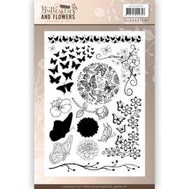 Joy!Crafts / Jeanine´s Art, Hobby Solutions Dies /  Timbre transparent: Papillons et fleurs classiques