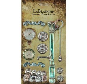 LaBlanche 3 Dimensional / Præget klistermærker med en skinnende metallisk finsk og højdepunkt.