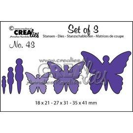 Crealies und CraftEmotions plantilla de corte y estampado: 3 mariposas