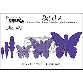 Crealies und CraftEmotions cutting and embossing template: 3 butterflies