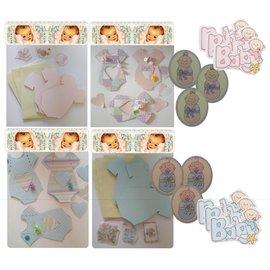 BASTELSETS / CRAFT KITS Komplett kort sett for 6 babyen kort + konvolutter