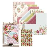 Designerpapier, Rosen Papier Set mit 6 Blatt, 30,5 x 30,5 cm + 1x Glanzbilder Rosen!