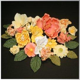 Embellishments / Verzierungen Papir blomster sortiment, oransje, gul, hvit