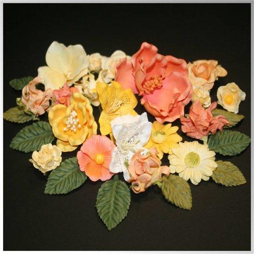 Embellishments / Verzierungen Papieren bloemen assortiment, oranje, geel, wit