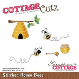 Cottage Cutz Cottage Cutz, Snij  en embossing sjabloon: Stitched Honey Bees