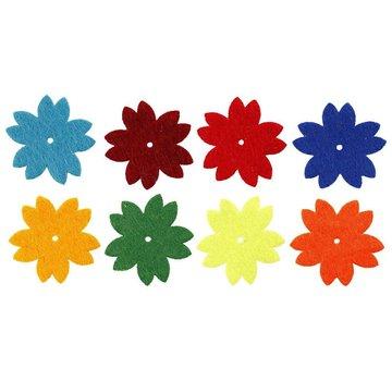 Embellishments / Verzierungen 24 Filt blomster, størrelse 3,5 cm, tykkelse: 1 mm