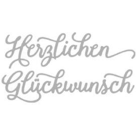 Spellbinders und Rayher Rayher, Snij en embossingmal: Herzlichen Glückwunsch, 10,2x5,2cm