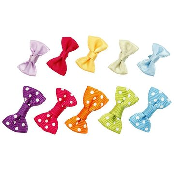 Embellishments / Verzierungen 20 small ribbon in great colors with white dots Pack of 10 colors B: 25 mm