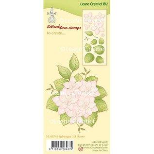 Leane Creatief - Lea'bilities und By Lene Leane Creatief, Timbro trasparente: Hydrangea 3D flower + leaves