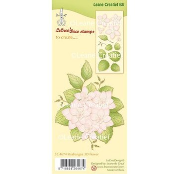Leane Creatief - Lea'bilities und By Lene Leane Creatief, Transparent frimærke: Hydrangea 3D blomst + blade