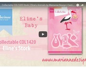Video, punching template, Marianne Design, COL1420, stork