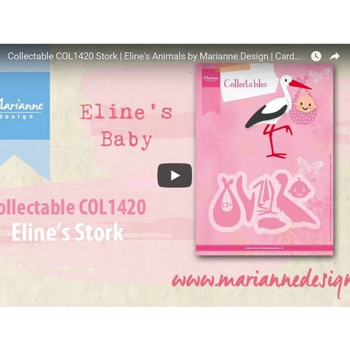 Instructions and inspiration Video, punching template, Marianne Design, COL1420, stork
