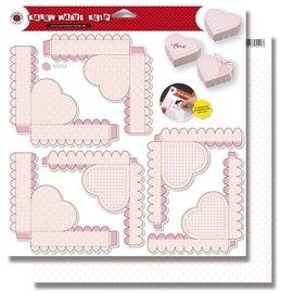 BASTELSETS / CRAFT KITS Bébé, 3 boîtes de coeur, feuille de poinçonnage rose