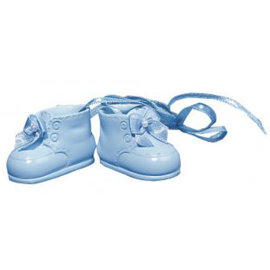 Embellishments / Verzierungen Polyresin baby shoes, 4 cm, box 1 pair, h.blau