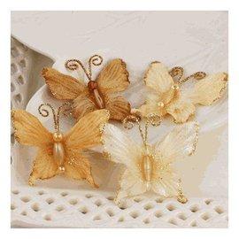 Prima Marketing und Petaloo Prima Marketing, Flores-Mariposa, Topaz. 4 hermosas mariposas con bonitas perlas y purpurina.