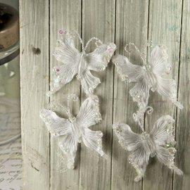 Prima Marketing und Petaloo Prima Marketing , 4 mooie vlinders met mooie kralen en glitter.