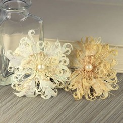 Prima Marketing, 2 Ivory Cream Feather Flowers Le Coque Pearl