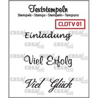 Craftemotions Crealies, timbro trasparente: testo tedesco
