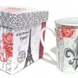 """Tea cup, """"Fleur de Lys-Paris"""" with lid"""