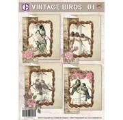 BASTELSETS / CRAFT KITS Card set, Vintage Birds 01, for 4 cards