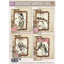 BASTELSETS / CRAFT KITS Kort sæt, Vintage Birds 01, til 4 kort