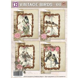 BASTELSETS / CRAFT KITS Set di carte, Vintage Birds 01, per 4 carte