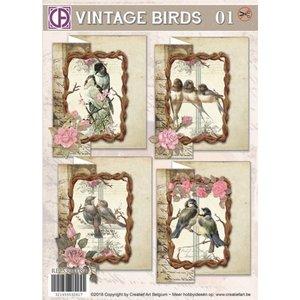 BASTELSETS / CRAFT KITS Set de cartes, Vintage Birds 01, pour 4 cartes
