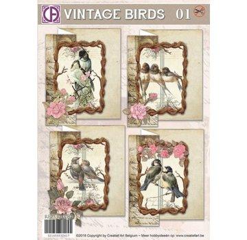 BASTELSETS / CRAFT KITS Set di carte, Vintage Birds 01, per 4 carte