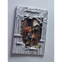 Set of cards: 3 barn cards in 3D optic + envelopes