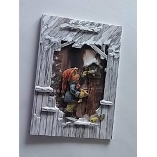 BASTELSETS / CRAFT KITS Set kaarten: 3 schuurkaarten in 3D optiek + enveloppen