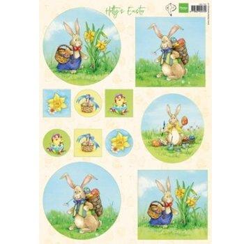 Marianne Design Foglio illustrativo A4, coniglietto pasquale