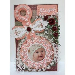 Dutch DooBaDoo Nederlandse Doobadoo, plastic stencil A5: Baby Rattle