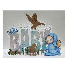 Dutch DooBaDoo Dutch Doobadoo, pochoir en plastique, texte d'art de la carte «bébé»