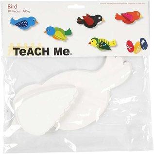 BASTELSETS / CRAFT KITS Uccello, L 25 cm, 400 g, Bianco, 10 pezzi