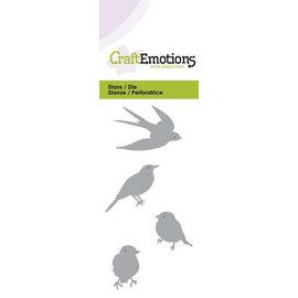 Craftemotions Snij- en embossing Sjablonen: vogeltjes, Card 5x10cm