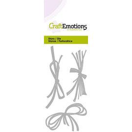 Craftemotions Snij- en embossing Sjablonen: String en raffia boog, Card 5x10cm