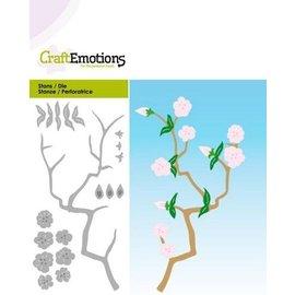 Craftemotions kutting og preging: Gren med blomster, Kort 5x10cm