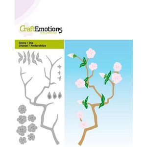 Crealies und CraftEmotions cutting and embossing:  Branch with flowers, Card 5x10cm