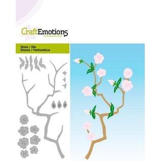 Craftemotions Snij- en embossing Sjablonen: Tak met bloemen, Card 5x10cm