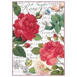 Stamperia und Florella Stamperia rijstpapier A4 rode rozen & muziek