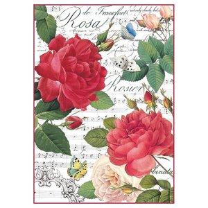Stamperia Stamperia rijstpapier A4 rode rozen & muziek