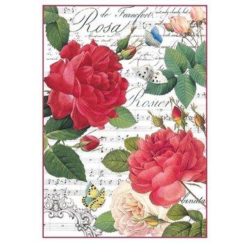 Stamperia Stamperia Carta di riso A4 Rose rosse e musica