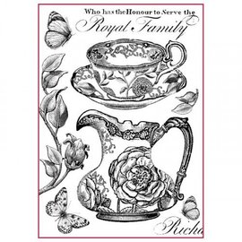 Stamperia und Florella Stamperia Riz Papier A4 Royal Family Noir & Blanc
